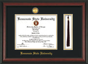 Image of Kennesaw State University Diploma Frame - Rosewood - w/24k Gold-Plated Medallion & KSU Name Embossing - Tassel Holder - Black on Gold mats