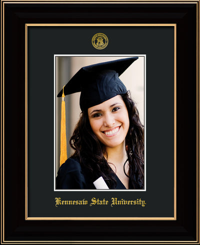 Image of Kennesaw State University 5 x 7 Photo Frame  - Black Lacquer - w/Official Embossing of KSU Seal & Name - Single Black mat