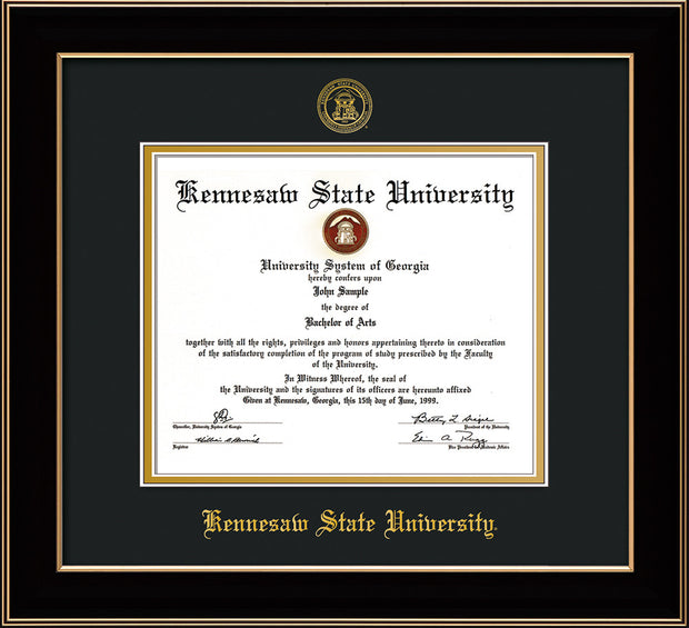 Image of Kennesaw State University Diploma Frame - Black Lacquer - w/Embossed KSU Seal & Name - Black on Gold mats