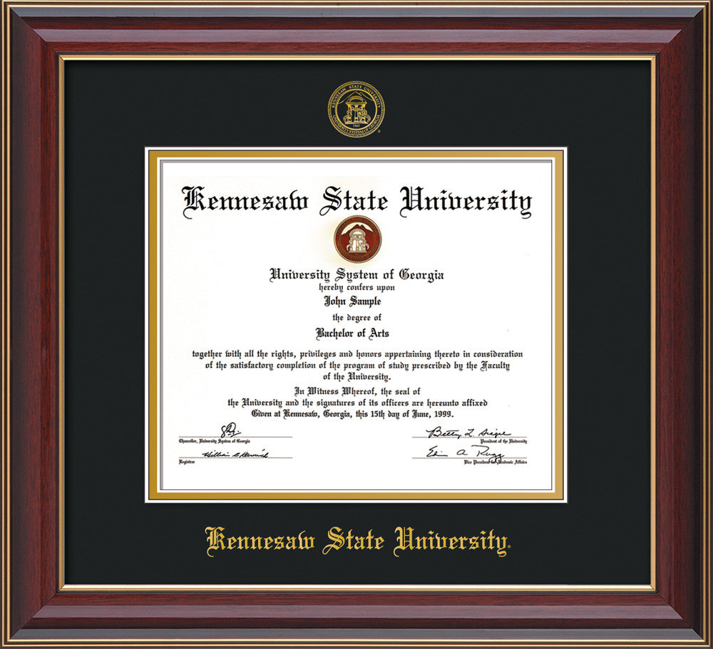image of kennesaw state university diploma frame cherry lacquer wembossed ksu seal