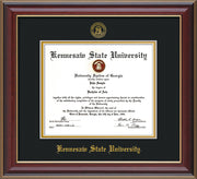 Image of Kennesaw State University Diploma Frame - Cherry Lacquer - w/Embossed KSU Seal & Name - Black on Gold mats