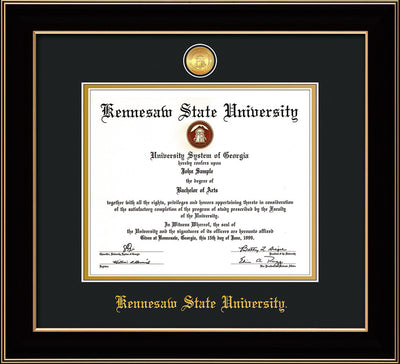Image of Kennesaw State University Diploma Frame - Black Lacquer - w/24k Gold-Plated Medallion KSU Name Embossing - Black on Gold mats