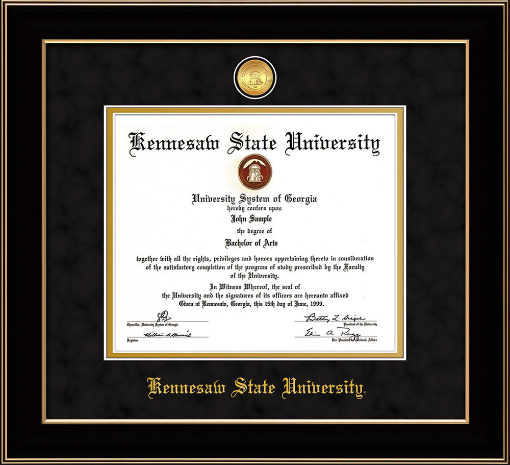 Kennesaw State University Diploma Frame-Black Lacquer-w/Medallion ...