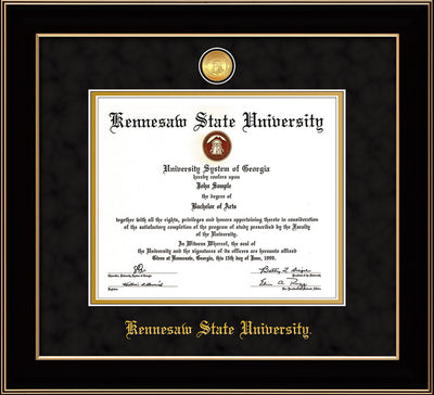 Image of Kennesaw State University Diploma Frame - Black Lacquer - w/24k Gold-Plated Medallion and KSU Name Embossing - Black Suede on Gold mat