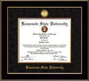 Image of Kennesaw State University Diploma Frame - Black Lacquer - w/24k Gold-Plated Medallion & Fillet - w/KSU Name Embossing - Black Suede mat