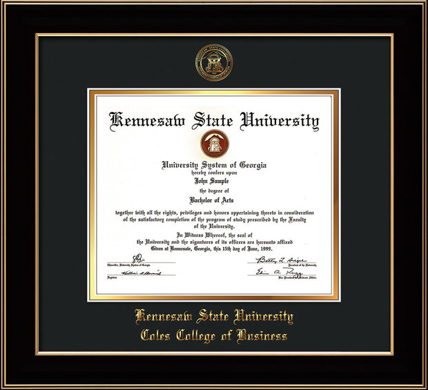 Image of Kennesaw State University Diploma Frame - Coles College of Business - Black Lacquer- with KSU Seal - and Coles embossing - Black on Gold mat