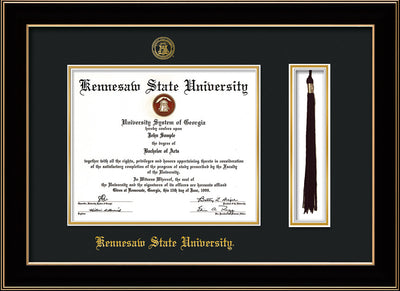 Image of Kennesaw State University Diploma Frame - Black Lacquer - w/KSU Embossed Seal & School Name - Tassel Holder - Black on Gold mat