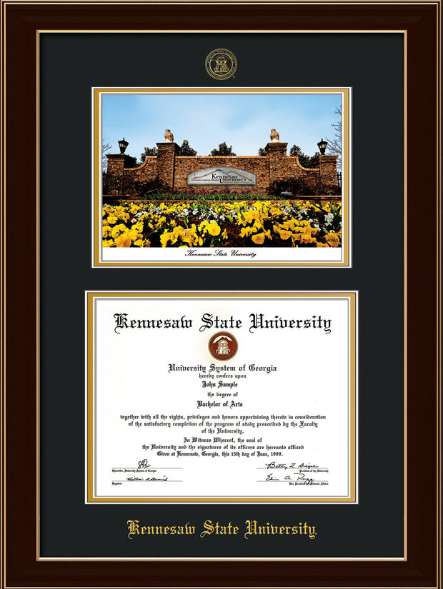 Image of Kennesaw State University Diploma Frame - Black Lacquer - with KSU Seal - Campus Watercolor - Black on Gold mat