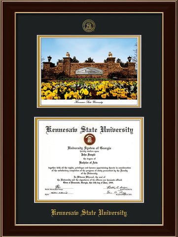 Kennesaw State Diploma Frame Rosewood With Watercolor