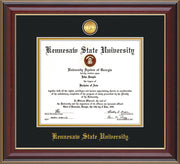 Image of Kennesaw State University Diploma Frame - Cherry Lacquer - w/24k Gold-Plated Medallion KSU Name Embossing - Black on Gold mats