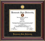 Image of Kennesaw State University Diploma Frame - Cherry Lacquer - w/24k Gold-Plated Medallion and KSU Name Embossing - Black Suede on Gold mat