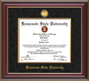 Image of Kennesaw State University Diploma Frame - Cherry Lacquer - w/24k Gold-Plated Medallion & Fillet - w/KSU Name Embossing - Black Suede mat