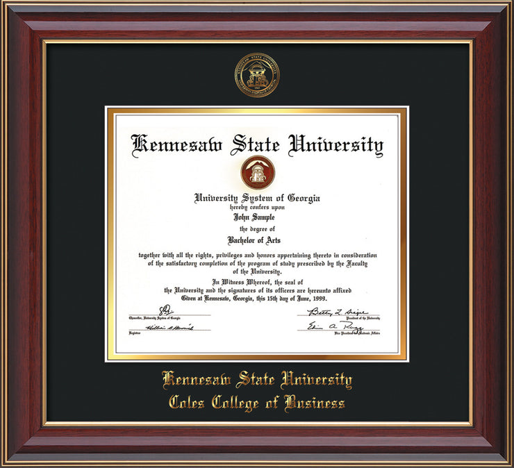 This is a Kennesaw State University Diploma Frame - Coles College of Business - Cherry Lacquer- with KSU Seal - and Coles embossing - Black on Gold mat