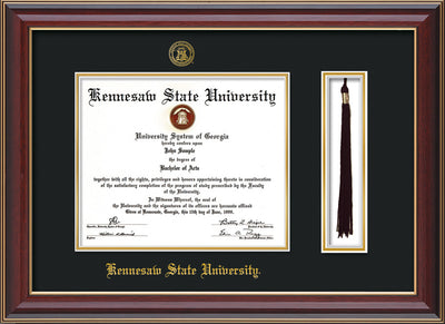 Image of Kennesaw State University Diploma Frame - Cherry Lacquer - w/KSU Embossed Seal & School Name - Tassel Holder - Black on Gold mat