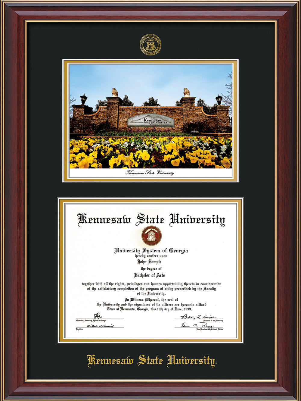 Kennesaw State Diploma Frame Cherry Lac W Watercolor Black On Gold Official Diploma Frames