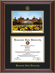 Image of Kennesaw State University Diploma Frame - Cherry Lacquer - with KSU Seal - Campus Watercolor - Black on Gold mat
