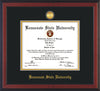 Image of Kennesaw State University Diploma Frame - Cherry Reverse - w/24k Gold-Plated Medallion KSU Name Embossing - Black on Gold mats