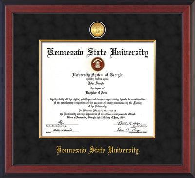 Image of Kennesaw State University Diploma Frame - Cherry Reverse - w/24k Gold-Plated Medallion & Fillet - w/KSU Name Embossing - Black Suede mat