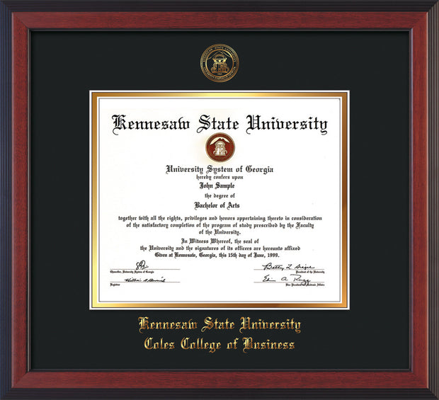 This is a Kennesaw State University Diploma Frame - Coles College of Business - Cherry Reverse- with KSU Seal - and Coles embossing - Black on Gold mat