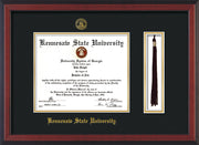 Image of Kennesaw State University Diploma Frame - Cherry Reverse - w/KSU Embossed Seal & School Name - Tassel Holder - Black on Gold mat