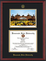 Image of Kennesaw State University Diploma Frame - Cherry Reverse - with KSU Seal - Campus Watercolor - Black on Gold mat