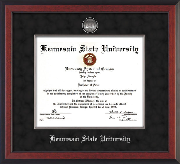 Image of Kennesaw State University Diploma Frame - Cherry Reverse - w/Silver-Plated Medallion & Fillet - w/KSU Name Embossing - Black Suede mat