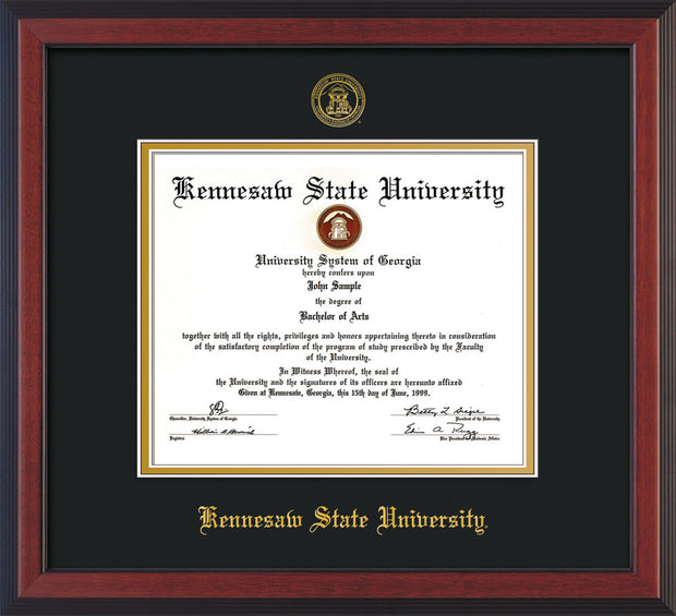 Image of Kennesaw State University Diploma Frame - Cherry Reverse - w/Official Embossing of KSU Seal & Name - Black on Gold mats
