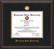 Image of Kennesaw State University Diploma Frame - Mahogany Braid - w/24k Gold-Plated Medallion KSU Name Embossing - Black on Gold mats