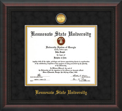 Image of Kennesaw State University Diploma Frame - Mahogany Braid - w/24k Gold-Plated Medallion and KSU Name Embossing - Black Suede on Gold mat