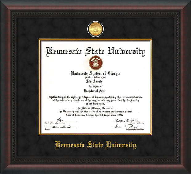 Image of Kennesaw State University Diploma Frame - Mahogany Braid - w/24k Gold-Plated Medallion & Fillet - w/KSU Name Embossing - Black Suede mat