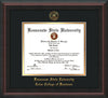 This is a Kennesaw State University Diploma Frame - Coles College of Business - Mahogany Braid - with KSU Seal - and Coles embossing - Black on Gold mat