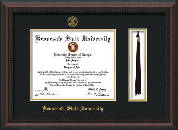 Image of Kennesaw State University Diploma Frame - Mahogany Braid - w/KSU Embossed Seal & School Name - Tassel Holder - Black on Gold mat