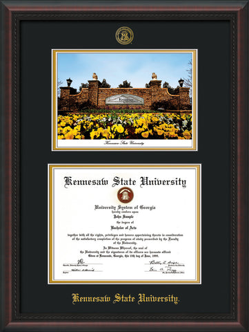 Image of Kennesaw State University Diploma Frame - Mahogany Braid - with KSU Seal - Campus Watercolor - Black on Gold mat