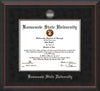 Image of Kennesaw State University Diploma Frame - Mahogany Braid - w/Silver-Plated Medallion & Fillet - w/KSU Name Embossing - Black Suede mat