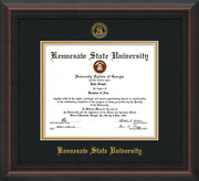 Image of Kennesaw State University Diploma Frame - Mahogany Braid - w/Embossed KSU Seal & Name - Black on Gold mats