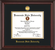 Image of Kennesaw State University Diploma Frame - Mahogany Lacquer - w/24k Gold-Plated Medallion KSU Name Embossing - Black on Gold mats