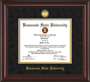Image of Kennesaw State University Diploma Frame - Mahogany Lacquer - w/24k Gold-Plated Medallion and KSU Name Embossing - Black Suede on Gold mat