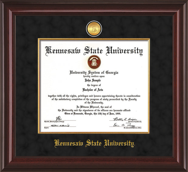 Image of Kennesaw State University Diploma Frame - Mahogany Lacquer - w/24k Gold-Plated Medallion & Fillet - w/KSU Name Embossing - Black Suede mat