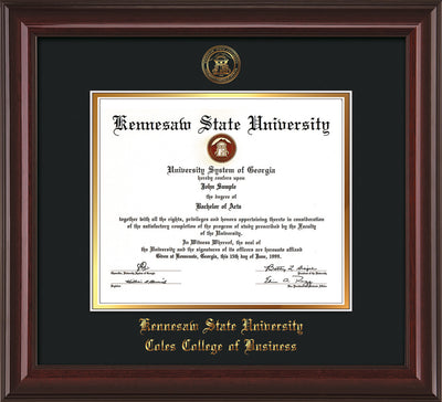 This is a Kennesaw State University Diploma Frame - Coles College of Business - Mahogany Lacquer - with KSU Seal - and Coles embossing - Black on Gold mat