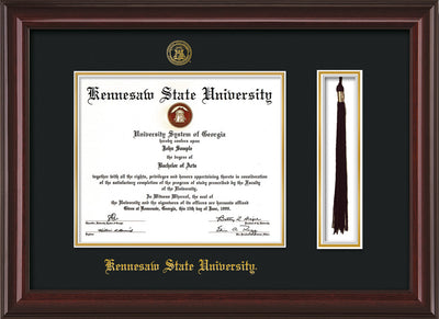 Image of Kennesaw State University Diploma Frame - Mahogany Lacquer - w/KSU Embossed Seal & School Name - Tassel Holder - Black on Gold mat