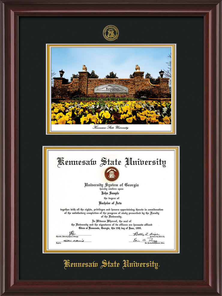 Image of Kennesaw State University Diploma Frame - Mahogany Lacquer - with KSU Seal - Campus Watercolor - Black on Gold mat