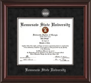 Image of Kennesaw State University Diploma Frame - Mahogany Lacquer - w/Silver-Plated Medallion & Fillet - w/KSU Name Embossing - Black Suede mat