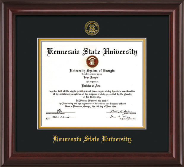 Image of Kennesaw State University Diploma Frame - Mahogany Lacquer - w/Embossed KSU Seal & Name - Black on Gold mats