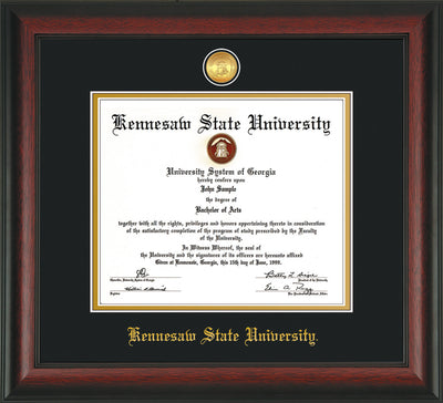 Image of Kennesaw State University Diploma Frame - Rosewood - w/24k Gold-Plated Medallion KSU Name Embossing - Black on Gold mats