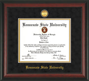 Image of Kennesaw State University Diploma Frame - Rosewood - w/24k Gold-Plated Medallion and KSU Name Embossing - Black Suede on Gold mat
