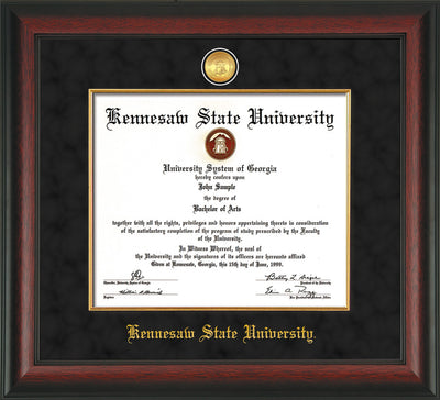 Image of Kennesaw State University Diploma Frame - Rosewood - w/24k Gold-Plated Medallion & Fillet - w/KSU Name Embossing - Black Suede mat