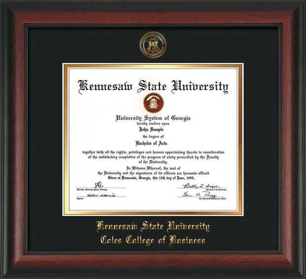 This is a Kennesaw State University Diploma Frame - Coles College of Business - Rosewood - with KSU Seal - and Coles embossing - Black on Gold mat