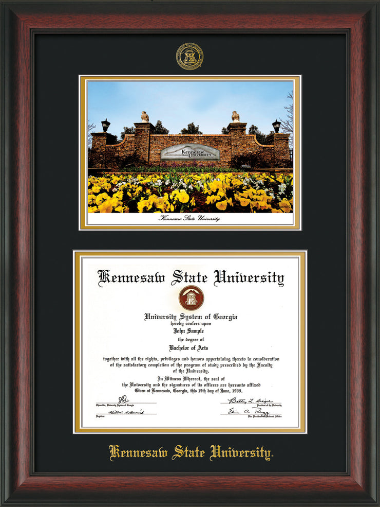 Image of Kennesaw State University Diploma Frame - Rosewood - with KSU Seal - Campus Watercolor - Black on Gold mat