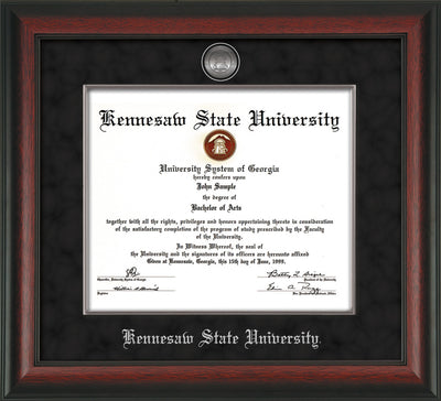 Image of Kennesaw State University Diploma Frame - Rosewood - w/Silver-Plated Medallion & Fillet - w/KSU Name Embossing - Black Suede mat