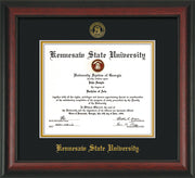 Image of Kennesaw State University Diploma Frame - Rosewood - w/Embossed KSU Seal & Name - Black on Gold mats